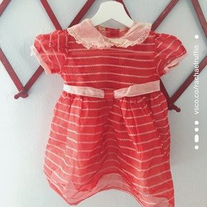 1950s youth red & pink vintage party dress 3/4T